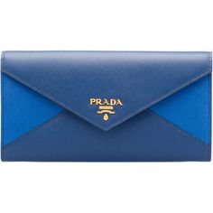 PRADA Wallet ($670) ❤ liked on Polyvore featuring bags, wallets, women, prada, credit card holder wallet, zipper wallet, blue wallet and zipper bag