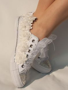 wedding converse trainers with crystals lace by TheCherishedBride Converse Wedding Shoes, Bling Converse, Wedding Sneakers, Bling Shoes, Converse Sneakers, Pretty Shoes, Beautiful Shoes, Cute Shoes, Me Too Shoes