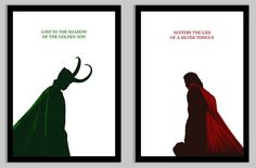 Loki and Thor Posters Set of 2 by PhoenixSilhouettes on Etsy
