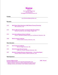 Example Job Resume 7 Beginner Makeup Artist Resume  Sample Resumes  Sample Resumes