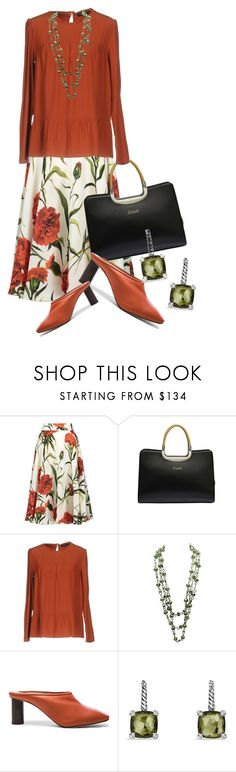 """Wear it in a Floral Skirt (outfit only)"" by queenrachietemplateaddict ❤ liked on Polyvore featuring Dolce&Gabbana, Handle, Twin-Set, Helmut Lang and David Yurman"