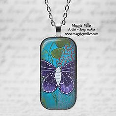 Rounded Domino Pendant Purple Butterfly from original painting