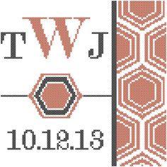 Honeycomb Monogram Cross Stitch by oneofakindbabydesign on Etsy
