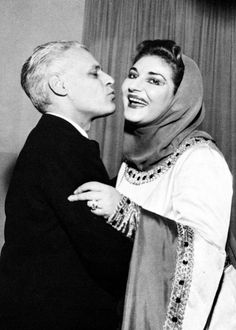 Maria Callas with the sovrintendente of La Scala, Antonio Ghiringhelli, 1952 Macbeth