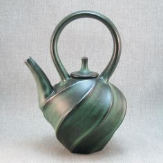 Small Carved Green Teapot, Jim Connell