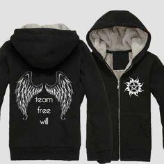 Zip Up Hoodies, Sweatshirts, Black Zip Ups, Fleece Hoodie, Plus Size Outfits, Supernatural, Wings, Boys, Sweaters