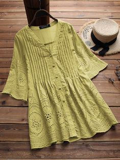 0a323aacc8ef Vintage Women Embroidered Hollow Solid Color Blouse New Chic