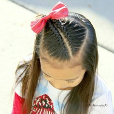 Awwww so adorable this hairstyle is for straight haired little girls. Girls Hairdos, Cute Little Girl Hairstyles, Cute Girls Hairstyles, Princess Hairstyles, Pretty Hairstyles, Braided Hairstyles, School Hairstyles, Updo Hairstyle, Wedding Hairstyles