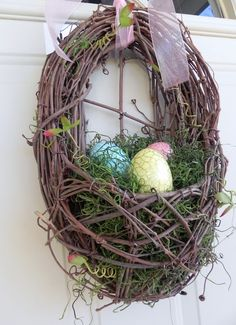 Easter Wreath - Nest with Crackle Easter Eggs and Spanish Moss. $44.95, via Etsy.