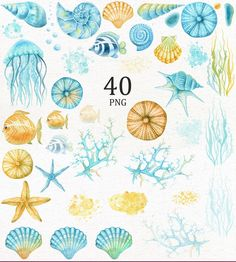 Blue and yellow sea life Ocean Underwater, Underwater Painting, Sea Clipart, Scrapbooking Digital, Digital Papers, Sea Illustration, Illustrations, Watercolor Ocean, Sea Art