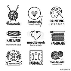 Vector: Handmade black thin line icons on white background. Handmade workshop logo set for painting cross stitching sewing and…
