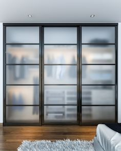 This Reach In Closet Showcases Beautiful Closet Doors That Sit On Triple  Tracks. The Frosted Glass Panels Create A Modern Look With A Hint Of  Transparency.