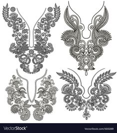 collection of ornamental floral neckline embroidery fashion by karakotsya, via ShutterStock Embroidery Neck Designs, Embroidery Motifs, Gold Embroidery, Embroidery Fashion, Embroidery Dress, Cross Stitch Embroidery, Embroidery Patterns Free, Dress Design Sketches, Fashion Design Sketches