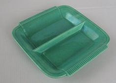 Vintage Art Deco Jade Green Ceramic Tray by JennyHaniverVintage
