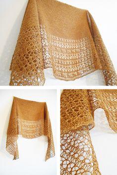 Ravelry: Rosewater shawl with Artesano Alpaca Silk 4ply in colorway Creme Caramel - knitting pattern by Janina Kallio.