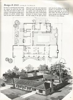 Vintage House Plans, 2000 square feet, mid century homes. Love the terrace in the middle of the plan. Garden Court.