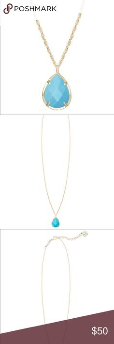 """Kendra Scott Kiri Necklace in Turquoise Kiri Necklace by Kendra Scott in turquoise color. A single blue teardrop creates a pendant perfect for any special occasion. Anyone from the classic bride to the modern party girl will love this versatile piece. 14K Gold Plated Over Brass. Size: 0.75""""L x 0.5""""W pendant on 18"""" chain with extender. Lobster claw closure. Material: turquoise magnesite. Please note: Due to the one-of-a-kind nature of the medium, exact color patterns may vary slightly from…"""