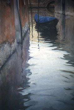 "Ian Roberts ~ ""Venice in Fall"" painting! I always admire Venices gondalas for going around the water areas"