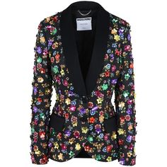Moschino Blazer ($2,175) ❤ liked on Polyvore featuring outerwear, jackets, blazers, black, moschino, flower print blazer, long sleeve jacket, moschino jacket and flower print jacket