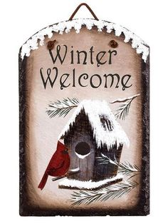 "Cardinal Winter Welcome Slate. Real painted slate rock features a brilliantly colored red cardinal hanging out at his winter birdhouse home. ""Winter Welcome! Gold Christmas Decorations, Christmas Wood, Christmas Signs, Winter Christmas, Primitive Christmas, Xmas, Painted Slate, Painted Rocks, Painted Signs"