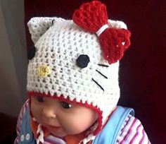 Hello Kitty Hat CROCHET PATTERN includes all sizes, from newborn all the way to adult, Beanie and Earflap Hello Kitty Hat CROCHET Pattern includes lots of pictures for every stage to make it easy for even beginners. Skill Level - easy (you need to understand basic crochet stitches and pattern instructions...
