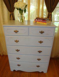 Eco-finished Tall Boy Gray/bluish Dresser, Shabby chic 5 Drawers