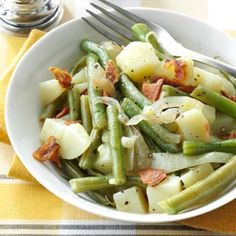 Easy Beans & Potatoes with Bacon Recipe from Taste of Home -- shared by Barbara Brittain of Santee, California