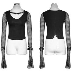 Sexy Black Fishnet Long Flare Sleeve Gothic Vampire Crop Tops Women SKU-11409411