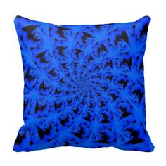 Spiral Abstract in Blue Throw Pillows