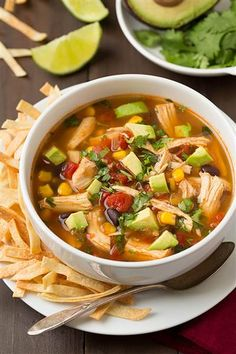 Slow cooker chicken tortilla soup is an anything but boring version of comforting chicken noodle soup.