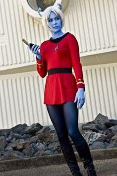 Star Trek cosplay - Andorian favorite alien race //My Indie Charlotte Fuller Star Trek Cosplay, Star Wars, Star Trek Tos, Aliens, Science Fiction, Star Trek Crew, Star Trek Uniforms, Deanna Troi, Marina Sirtis