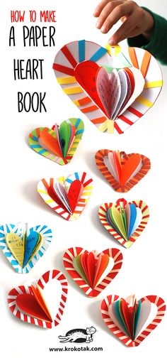 HOW TO MAKE A PAPER HEART BOOK: Fun Craft Project that's easy enough for kids to make, but can also be created with details that make it perfect for adults too! Valentine Crafts For Kids, Mothers Day Crafts, Valentines For Kids, Holiday Crafts, Valentine Decorations, Craft Activities, Preschool Crafts, Fun Crafts, Arts And Crafts