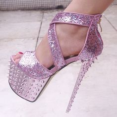 Sexy Gorgeous Colorful Glitter Studded Spike Ankle Wedding Shoes High Heels #pink #glitter #platform