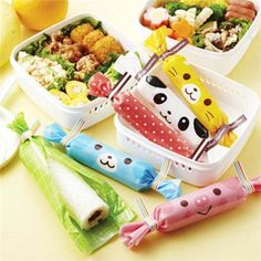 pig cat panda bento box food lunch roll wrapping papers