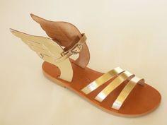 Leder Sandalen aus Kreta (HERMES GOLD)( Gr 25-42) von BABISART auf DaWanda.com