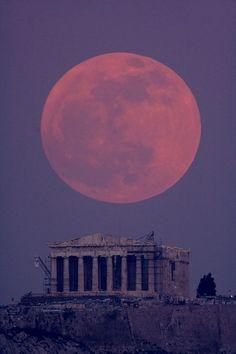 moon over parthenon, greece.