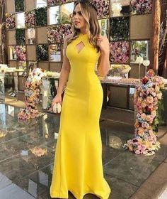 Yellow Mermaid Halter Prom Dresses Satin Evening Formal Gowns · loverlovebridal · Online Store Powered by Storenvy Trendy Dresses, Cheap Dresses, Elegant Dresses, Beautiful Dresses, Fashion Dresses, Trendy Outfits, Cute Outfits, Formal Evening Dresses, Formal Gowns