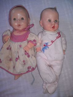 """2 Vintage 12"""" Advertising Doll Gerber Baby Doll from Sun Rubber Co. 1950s #Gerber"""