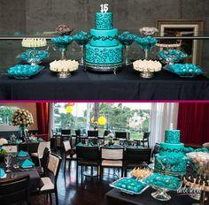 Azul Tiffany com Preto