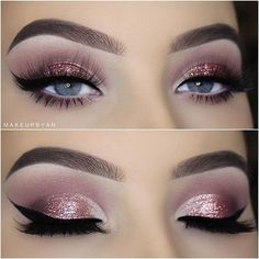 Why an eyeliner? Well, Did you know that you can make your eyes look bigger and even change the shape with an eyeliner? Almost every woman knows what en eyeliner is today… Eye Makeup Glitter, Pink Eye Makeup, Eye Makeup Tips, Makeup Goals, Makeup Hacks, Makeup Tutorials, Hair Hacks, Makeup Style, Makeup Trends