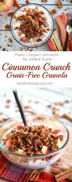 This golden Cinnamon Crunch Grain-Free Granola has zero added sugar! It's made with applesauce, vanilla, and lots of cinnamon for a warm toasted flavor. Paleo, Vegan, and low-carb. Gourmet Recipes, Real Food Recipes, Healthy Nuts And Seeds, Healthy Breakfast Recipes, Healthy Recipes, Practical Paleo Recipes, Cinnamon Crunch, Apple Cinnamon, Cinnamon Recipes