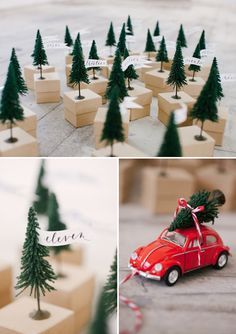 Model pine trees glued to mini boxes for an Advent Calendar