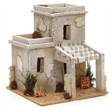 Nativity setting, Arabian house with fruit shop Christmas Nativity Scene, Christmas Villages, Fontanini Nativity, Garden Nook, Free To Use Images, Ceramic Houses, Decorative Tile, Miniature Houses, Miniture Things