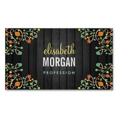Cute Swirl Flowers on Dark Wood Business Cards. This is a fully customizable business card and available on several paper types for your needs. You can upload your own image or use the image as is. Just click this template to get started!