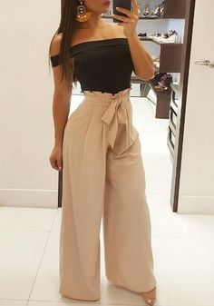 Khaki Sashes Bow Pockets Pleated Wide Leg Peplum Going out Casual Long Pants Summer Outfits Women Over 30, Summer Pants Outfits, Club Outfits For Women, Dressy Outfits, Chic Outfits, Spring Outfits, Fashion Outfits, Clothes For Women, Womens Fashion