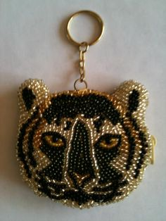 Beaded Tiger Coin Purse Key Chain with Ring Fun Gift for Someone Special | eBay