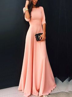 Buy Round Neck Maxi Pink Dress from abaday.com, FREE shipping Worldwide - Fashion Clothing, Latest Street Fashion At Abaday.com