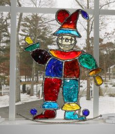 LG Stained Leaded Glass Clown w Balloon Signed 1974 | eBay