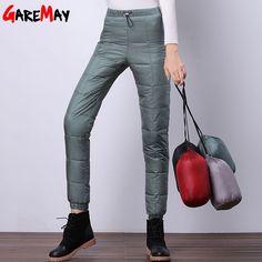 2016 Winter down pants women casual outwear elastic waist work wear street fashion snow plus size thicken female trousers warm
