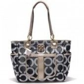 Coach Chelsea Op Art Business Bag Black-Silver U03004 http://www.theredstyle.com/